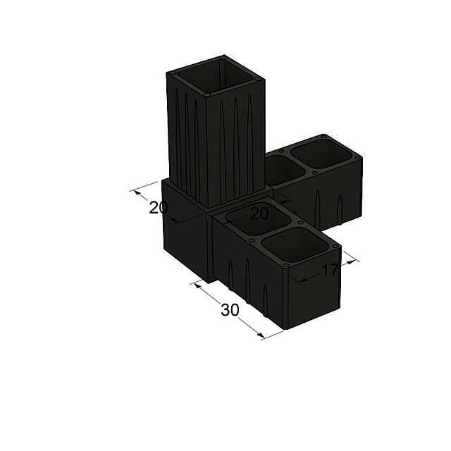 L TYPE 3 WAY CONNECTOR 20x20, BLACK